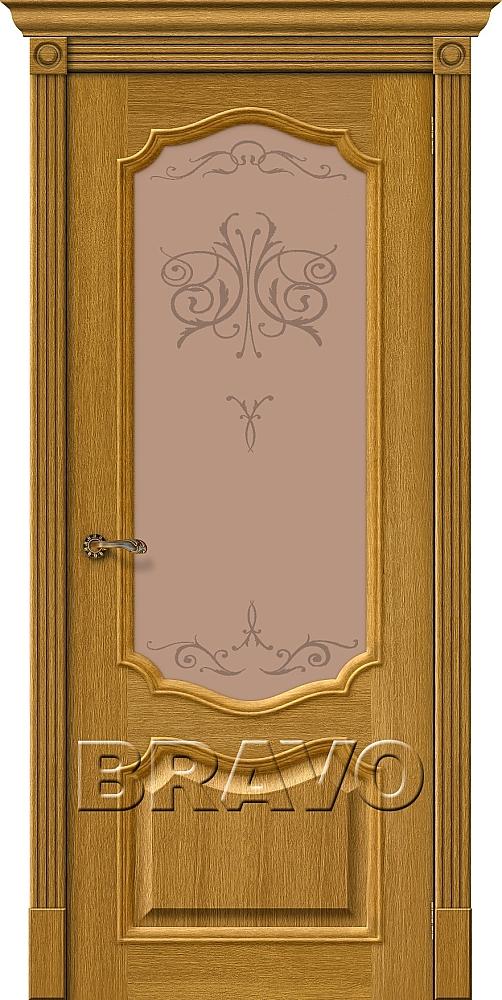 """Дверь Браво Вуд Классик-53 дуб натуральный, сатинато бронзовое художественное """"Bronze Art"""""""