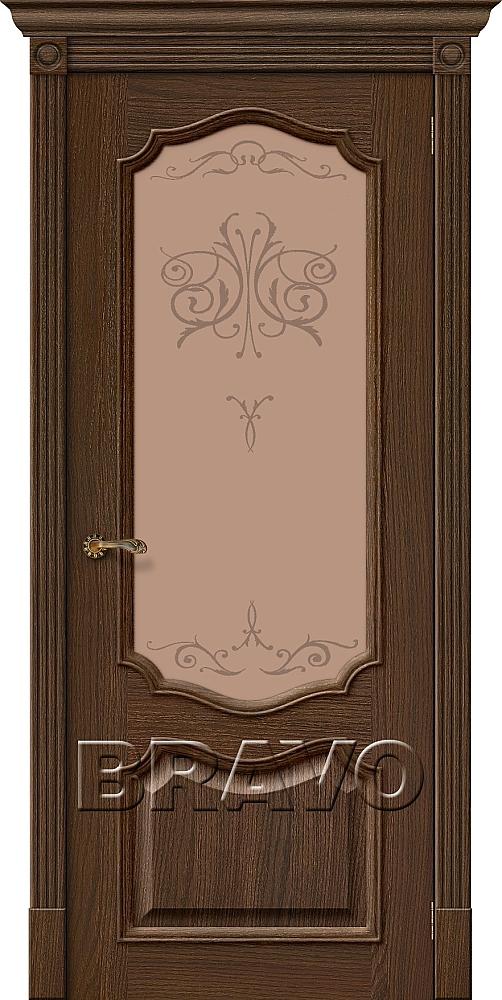 """Дверь Браво Вуд Классик-53 дуб золотой, сатинато бронзовое художественное """"Bronze Art"""""""