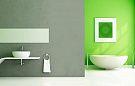 В ванной, зеленые тона